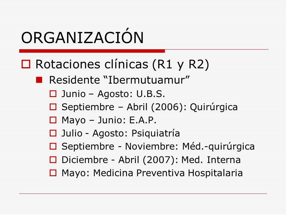 ORGANIZACIÓN Rotaciones clínicas (R1 y R2) Residente Ibermutuamur