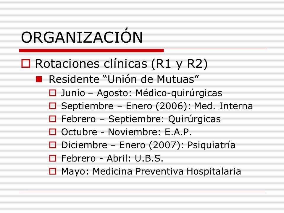 ORGANIZACIÓN Rotaciones clínicas (R1 y R2) Residente Unión de Mutuas