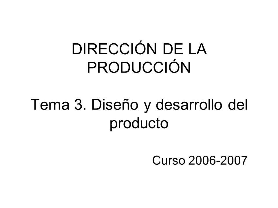 DIRECCIÓN DE LA PRODUCCIÓN Tema 3. Diseño y desarrollo del producto