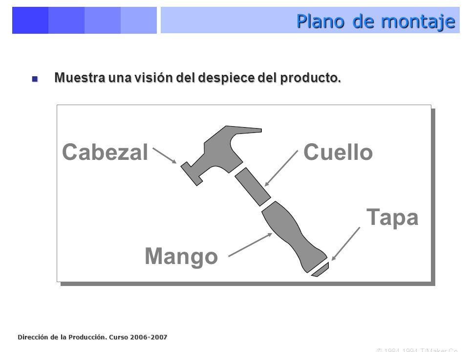 Cabezal Cuello Tapa Mango Plano de montaje