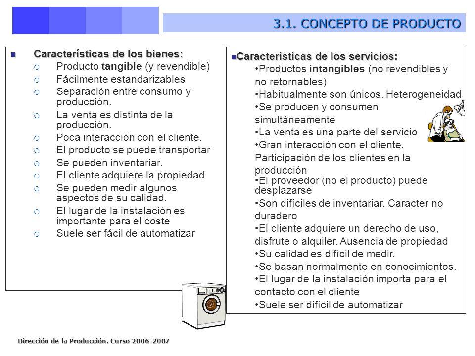 3.1. CONCEPTO DE PRODUCTO Características de los bienes: