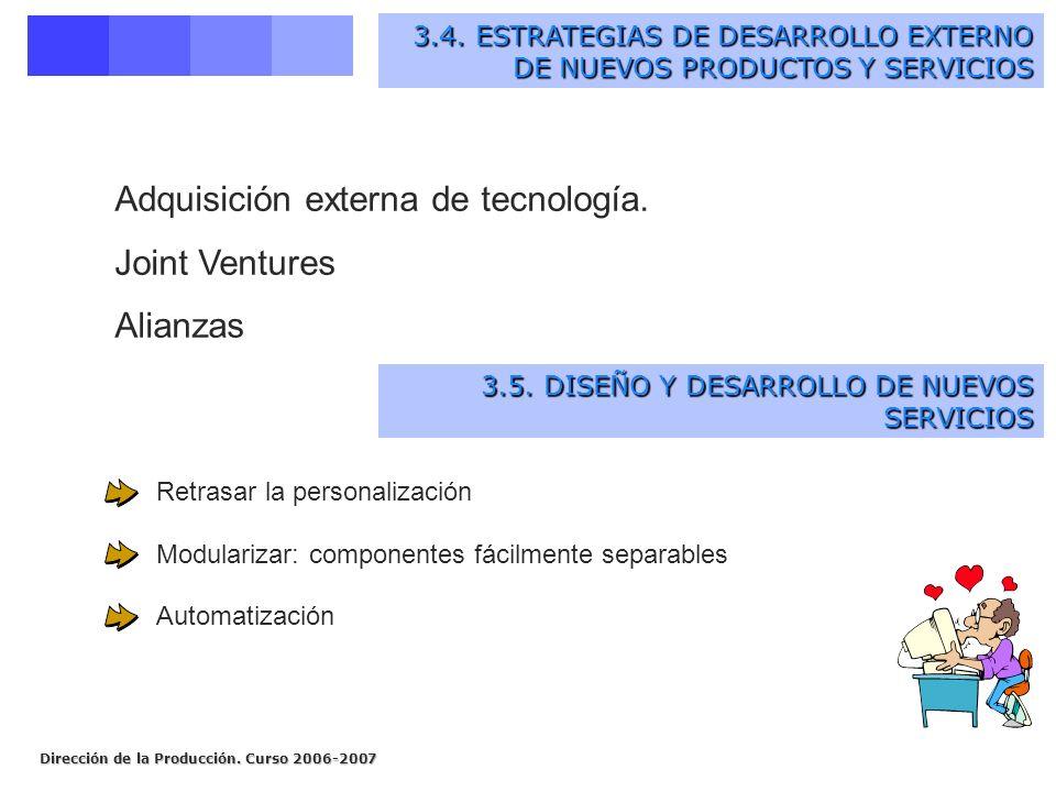 Adquisición externa de tecnología. Joint Ventures Alianzas