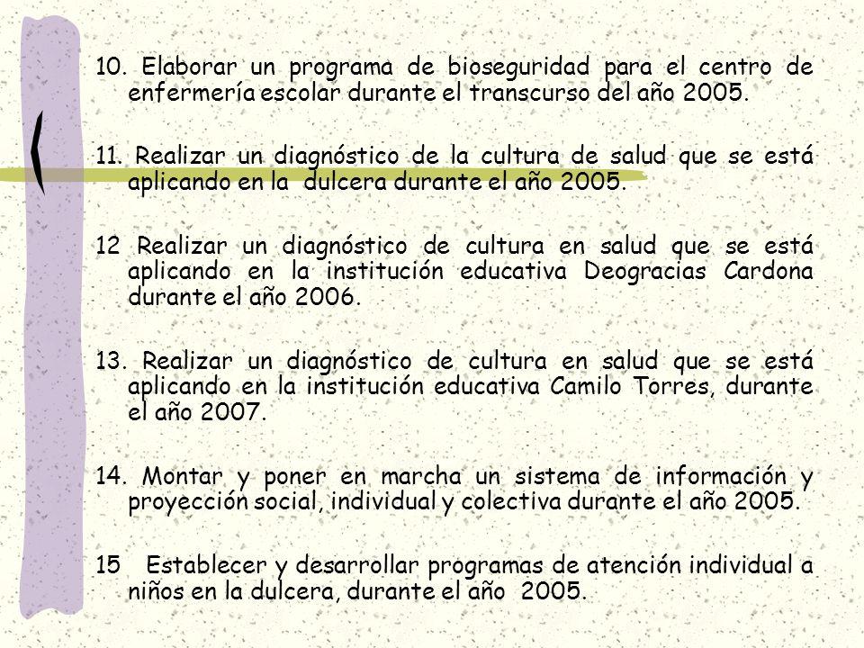 10. Elaborar un programa de bioseguridad para el centro de enfermería escolar durante el transcurso del año 2005.