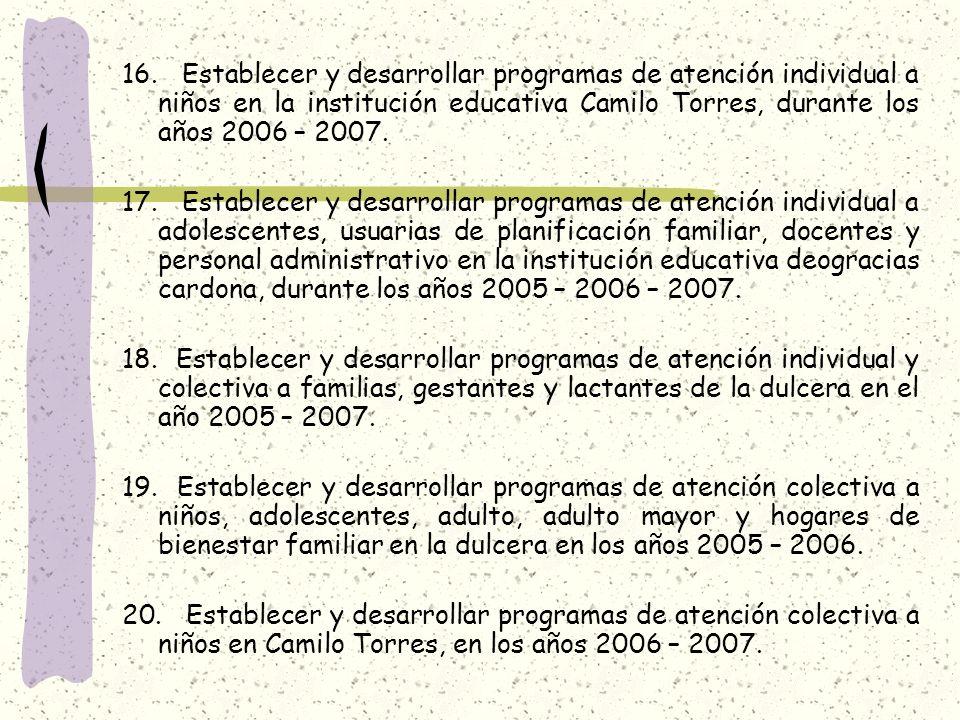16. Establecer y desarrollar programas de atención individual a niños en la institución educativa Camilo Torres, durante los años 2006 – 2007.