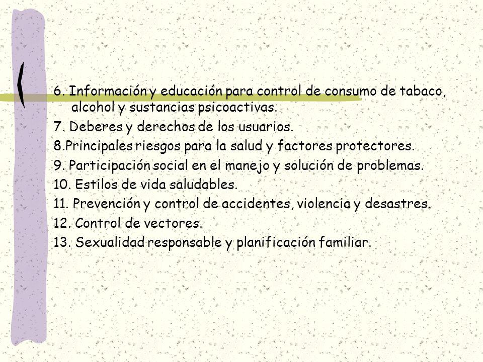 6. Información y educación para control de consumo de tabaco, alcohol y sustancias psicoactivas.