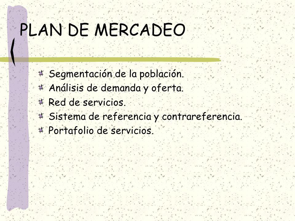 PLAN DE MERCADEO Segmentación de la población.