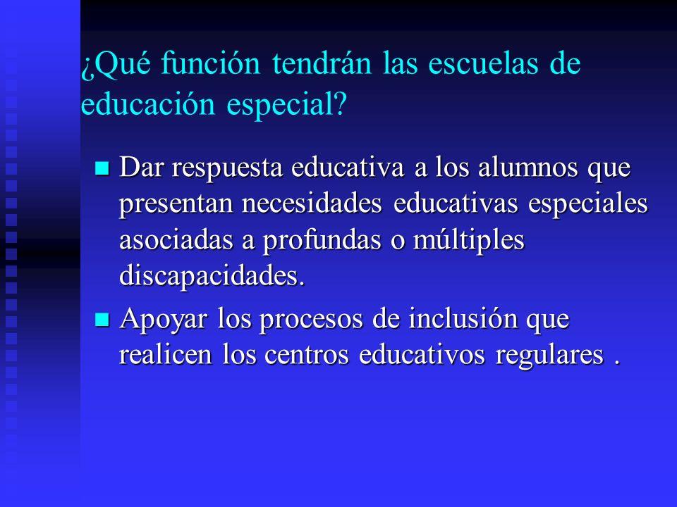 ¿Qué función tendrán las escuelas de educación especial