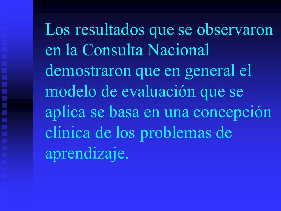Los resultados que se observaron en la Consulta Nacional demostraron que en general el modelo de evaluación que se aplica se basa en una concepción clínica de los problemas de aprendizaje.