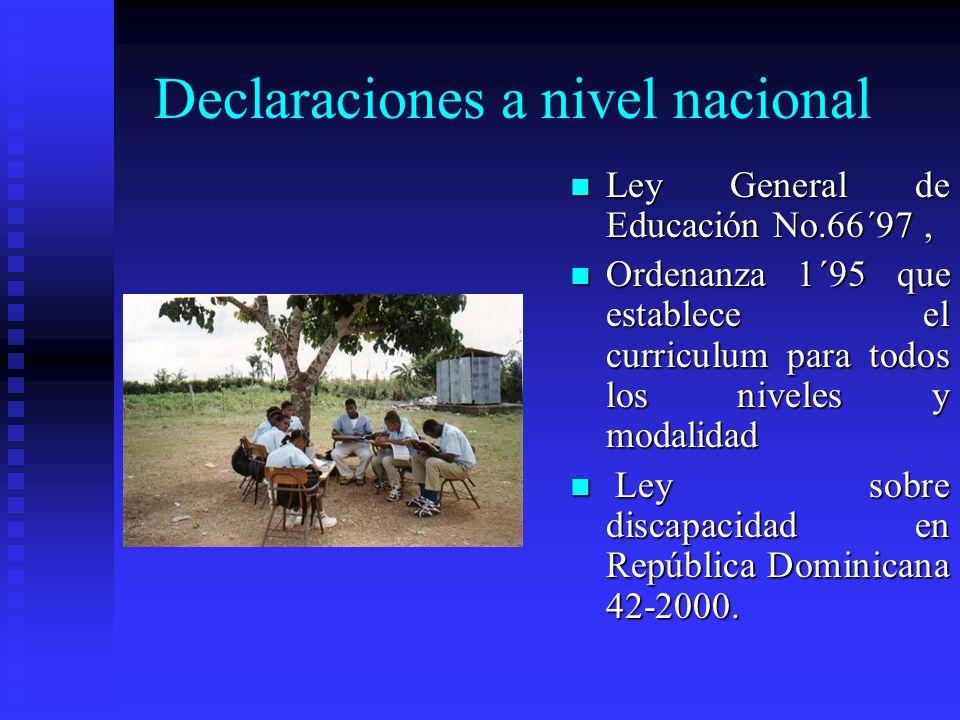 Declaraciones a nivel nacional