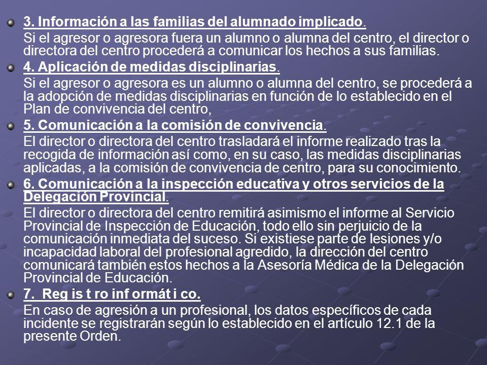 3. Información a las familias del alumnado implicado.