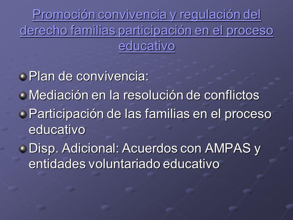 Promoción convivencia y regulación del derecho familias participación en el proceso educativo
