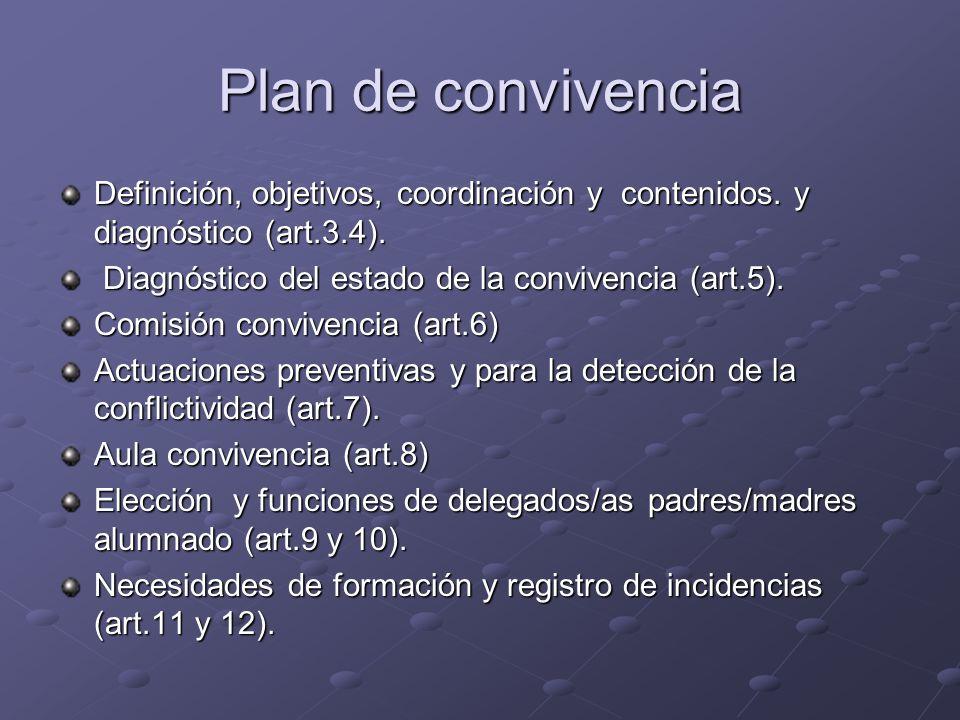Plan de convivencia Definición, objetivos, coordinación y contenidos. y diagnóstico (art.3.4). Diagnóstico del estado de la convivencia (art.5).