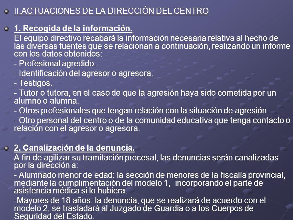 II.ACTUACIONES DE LA DIRECCIÓN DEL CENTRO