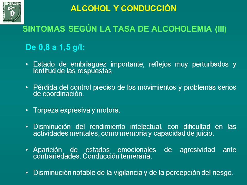 SINTOMAS SEGÚN LA TASA DE ALCOHOLEMIA (III)