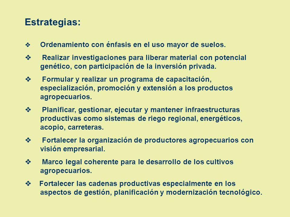 Estrategias: v Ordenamiento con énfasis en el uso mayor de suelos.