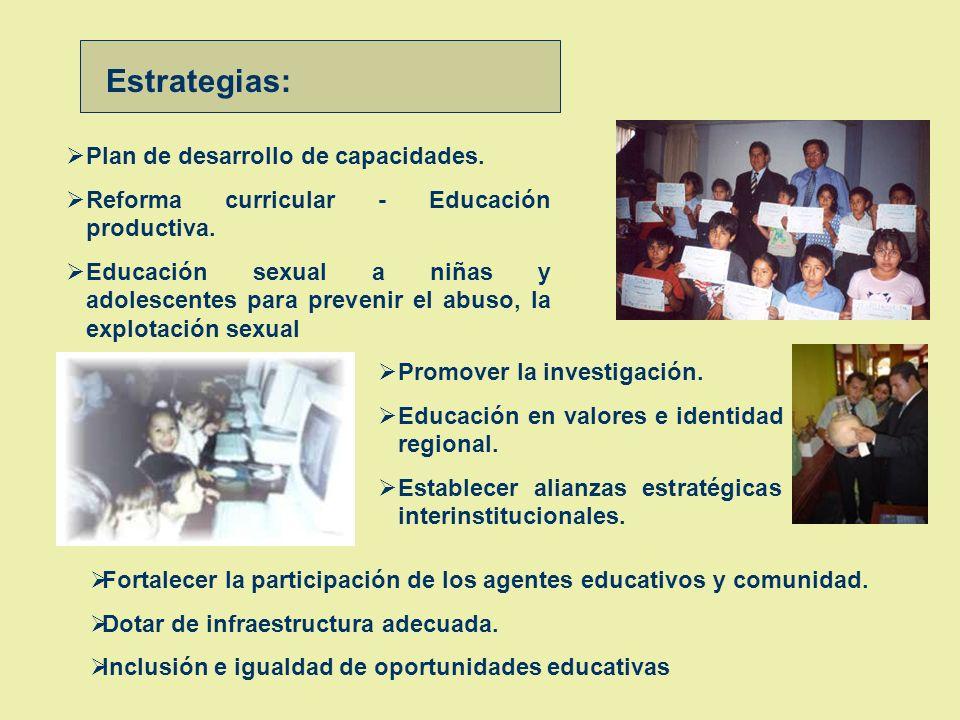 Estrategias: Plan de desarrollo de capacidades.