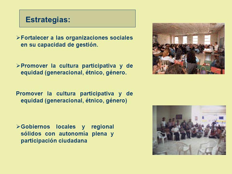 Estrategias: Fortalecer a las organizaciones sociales en su capacidad de gestión.