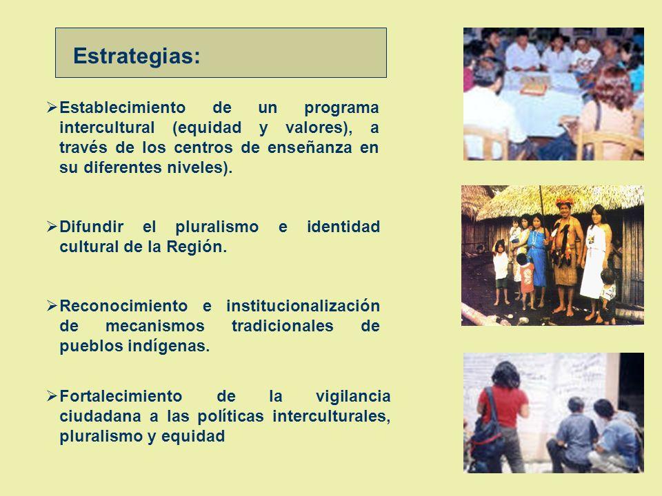 Estrategias: Establecimiento de un programa intercultural (equidad y valores), a través de los centros de enseñanza en su diferentes niveles).