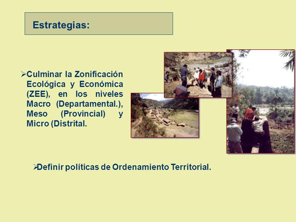 Estrategias: Culminar la Zonificación Ecológica y Económica (ZEE), en los niveles Macro (Departamental.), Meso (Provincial) y Micro (Distrital.