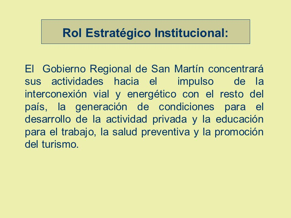 Rol Estratégico Institucional: