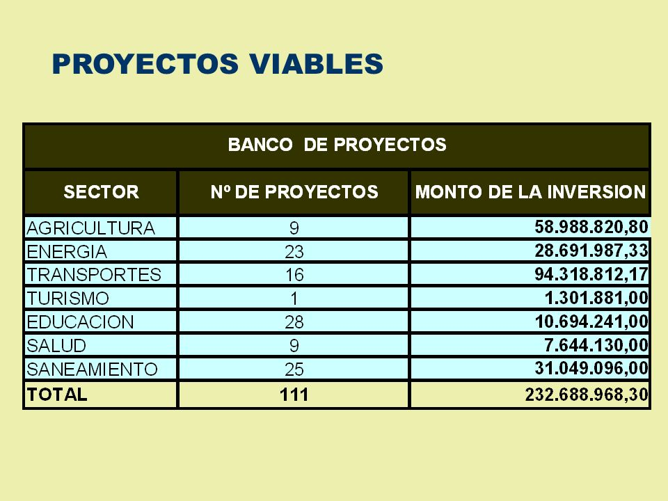 PROYECTOS VIABLES