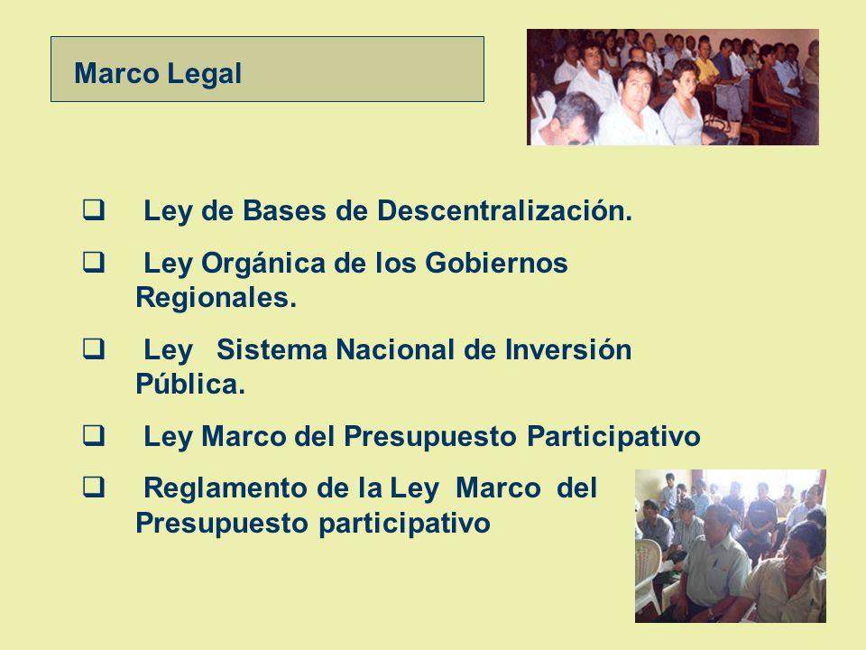 Marco Legal Ley de Bases de Descentralización. Ley Orgánica de los Gobiernos Regionales. Ley Sistema Nacional de Inversión Pública.