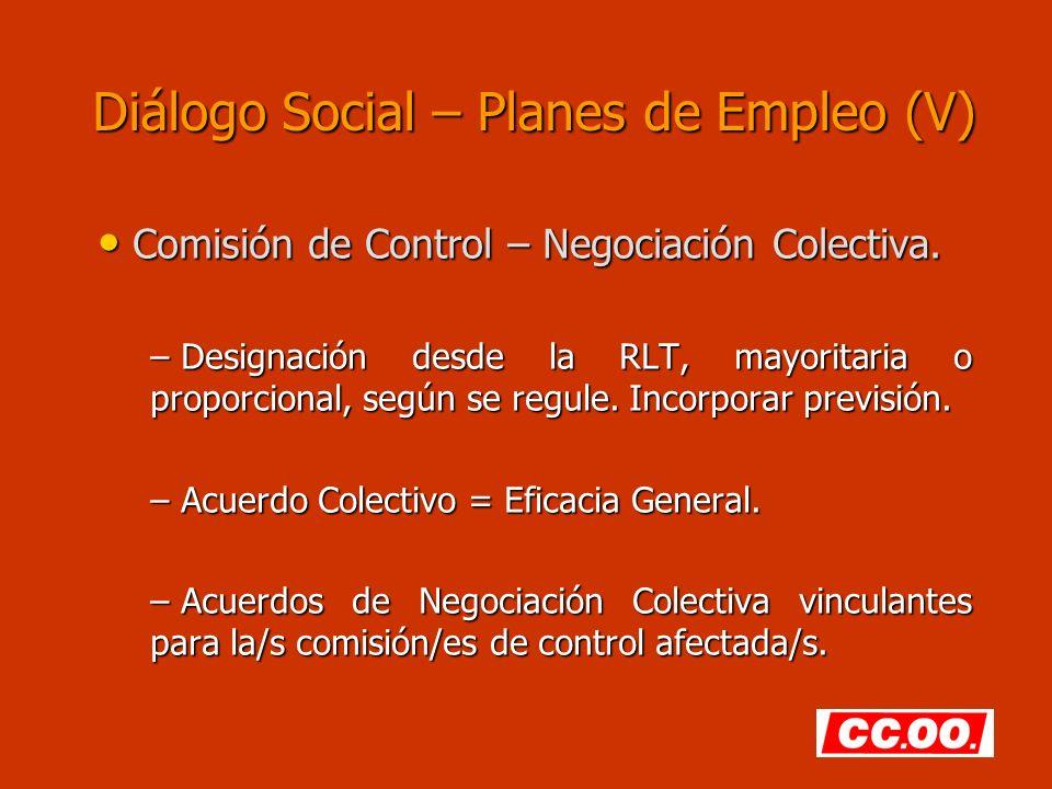Diálogo Social – Planes de Empleo (V)