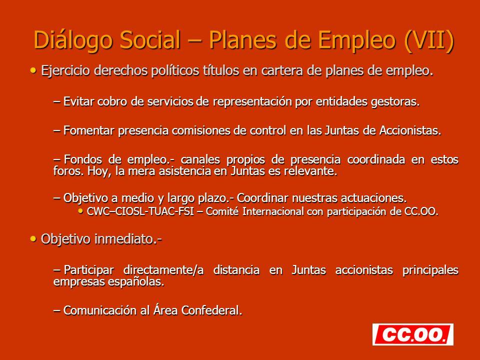 Diálogo Social – Planes de Empleo (VII)