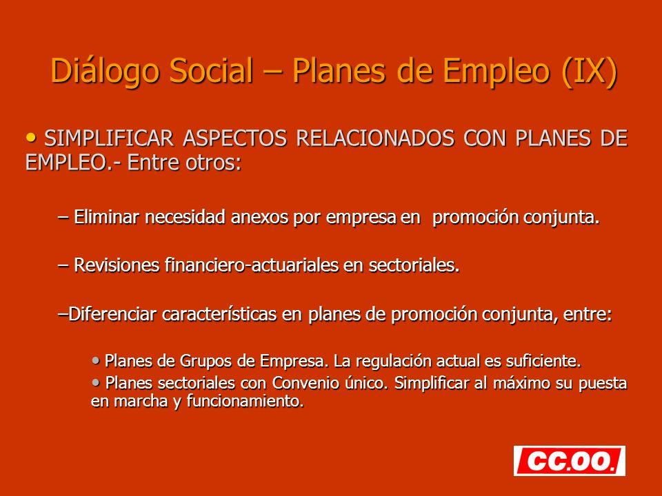 Diálogo Social – Planes de Empleo (IX)