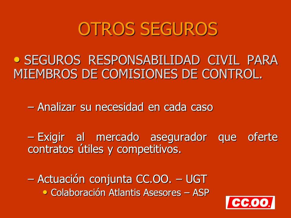 OTROS SEGUROS SEGUROS RESPONSABILIDAD CIVIL PARA MIEMBROS DE COMISIONES DE CONTROL. Analizar su necesidad en cada caso.