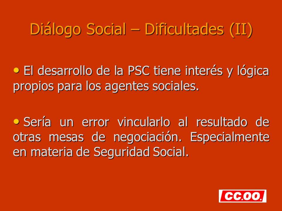 Diálogo Social – Dificultades (II)