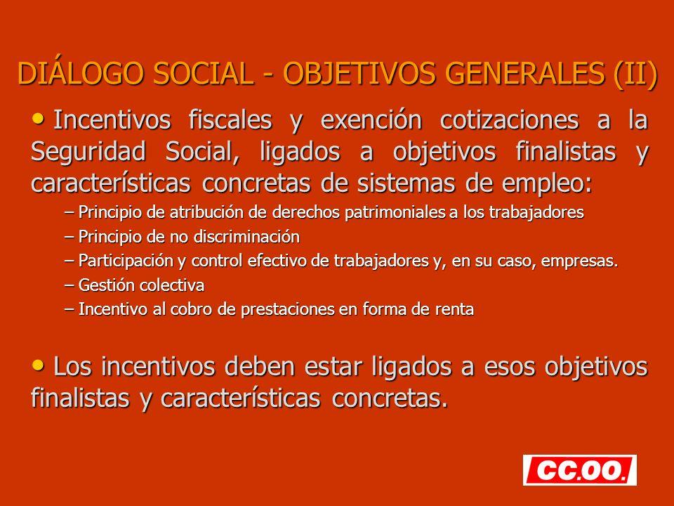 DIÁLOGO SOCIAL - OBJETIVOS GENERALES (II)