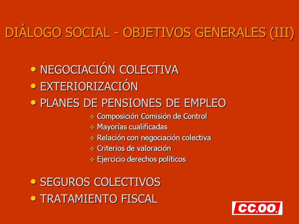 DIÁLOGO SOCIAL - OBJETIVOS GENERALES (III)