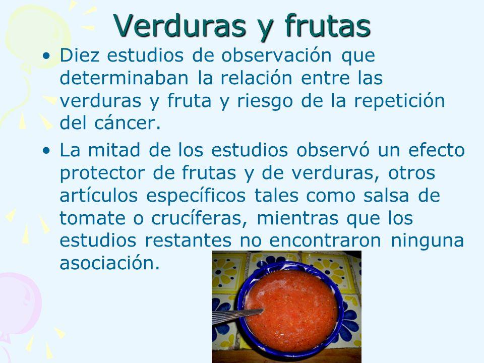 Verduras y frutas Diez estudios de observación que determinaban la relación entre las verduras y fruta y riesgo de la repetición del cáncer.