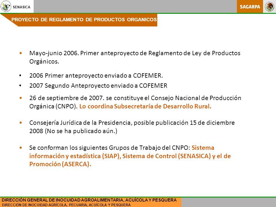 2006 Primer anteproyecto enviado a COFEMER.