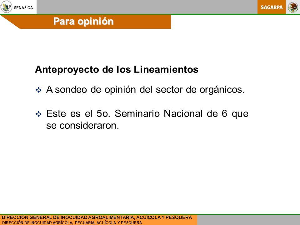 Para opinión Anteproyecto de los Lineamientos. A sondeo de opinión del sector de orgánicos.