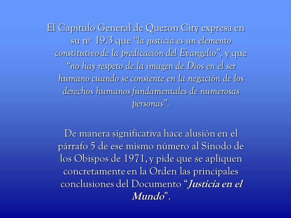 El Capítulo General de Quezon City expresa en su nº 19