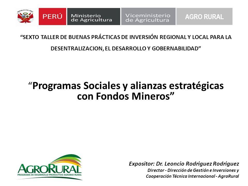 Programas Sociales y alianzas estratégicas con Fondos Mineros