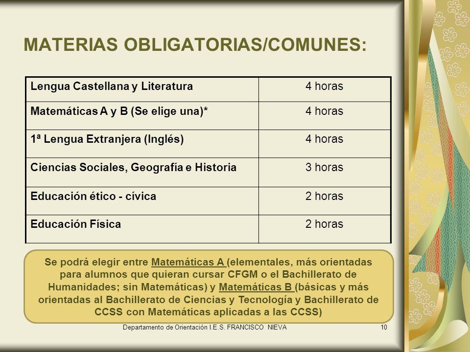 MATERIAS OBLIGATORIAS/COMUNES: