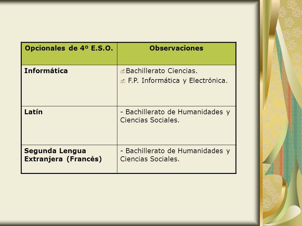 Opcionales de 4º E.S.O. Observaciones. Informática. Bachillerato Ciencias. F.P. Informática y Electrónica.