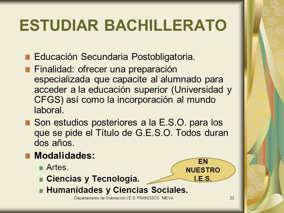 ESTUDIAR BACHILLERATO