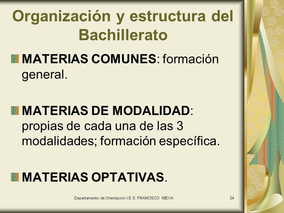 Organización y estructura del Bachillerato