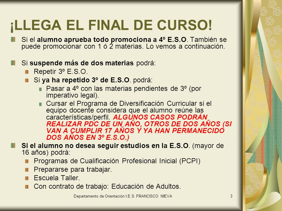 ¡LLEGA EL FINAL DE CURSO!