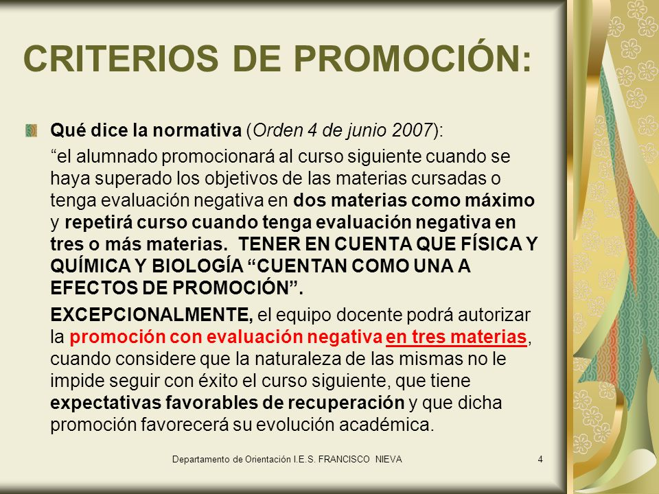 CRITERIOS DE PROMOCIÓN: