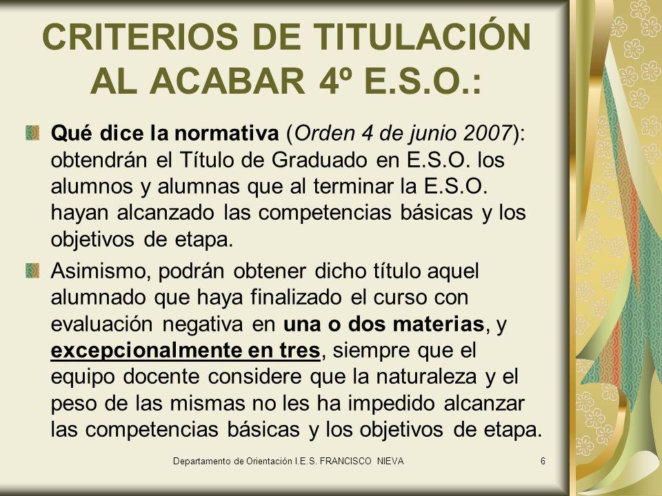 CRITERIOS DE TITULACIÓN AL ACABAR 4º E.S.O.: