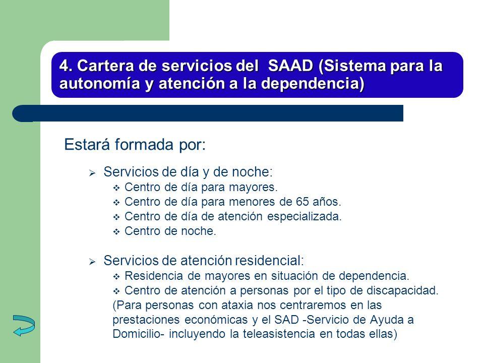4. Cartera de servicios del SAAD (Sistema para la autonomía y atención a la dependencia)