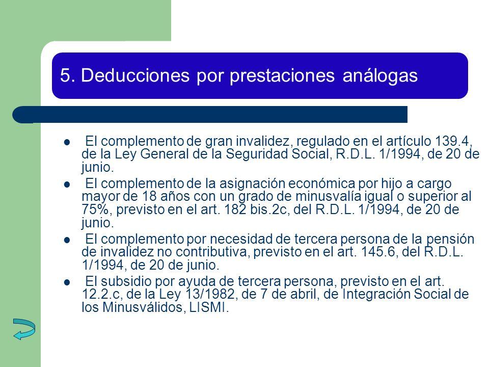 5. Deducciones por prestaciones análogas