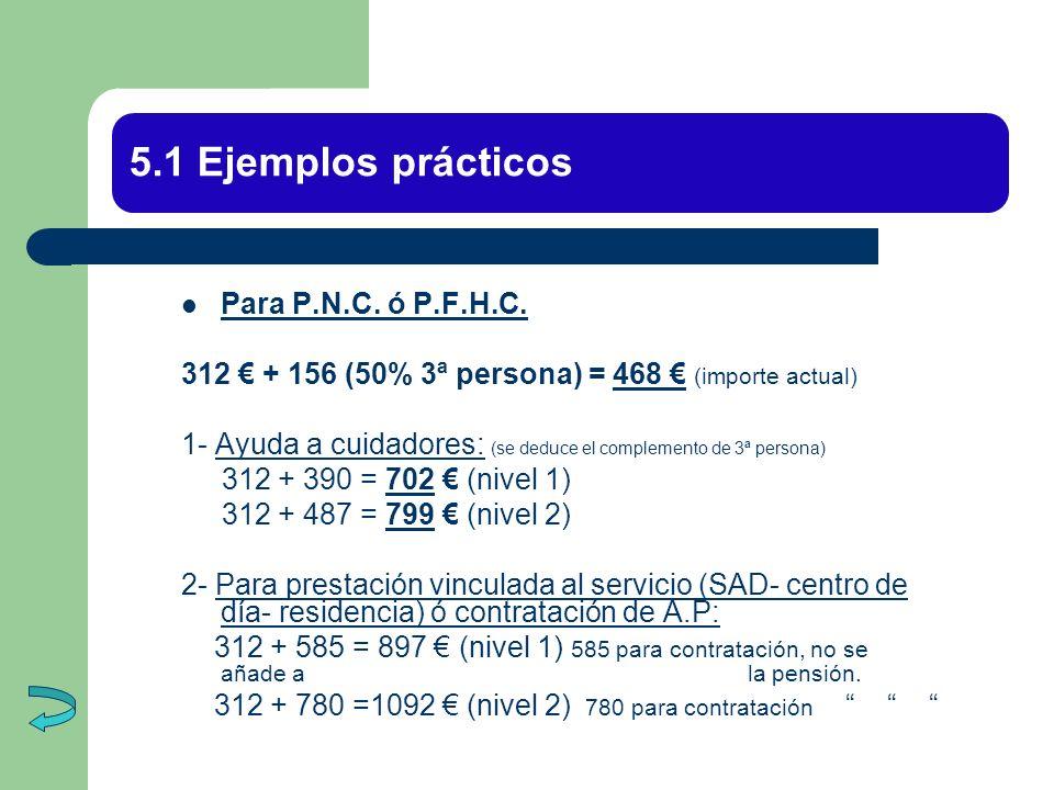 5.1 Ejemplos prácticos Para P.N.C. ó P.F.H.C.
