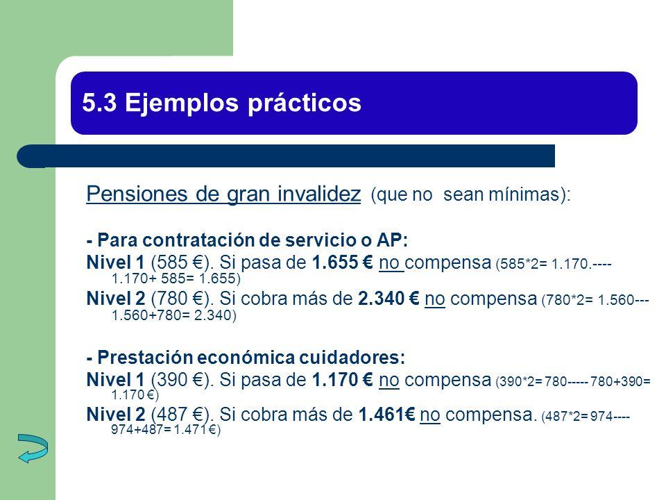 5.3 Ejemplos prácticos Pensiones de gran invalidez (que no sean mínimas): - Para contratación de servicio o AP: