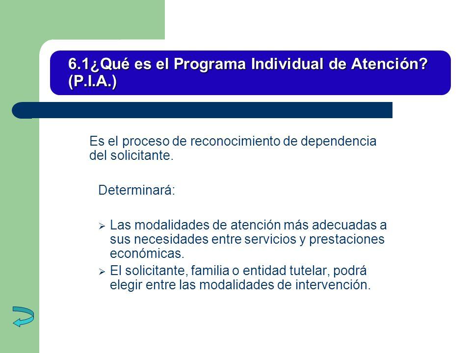 6.1¿Qué es el Programa Individual de Atención (P.I.A.)